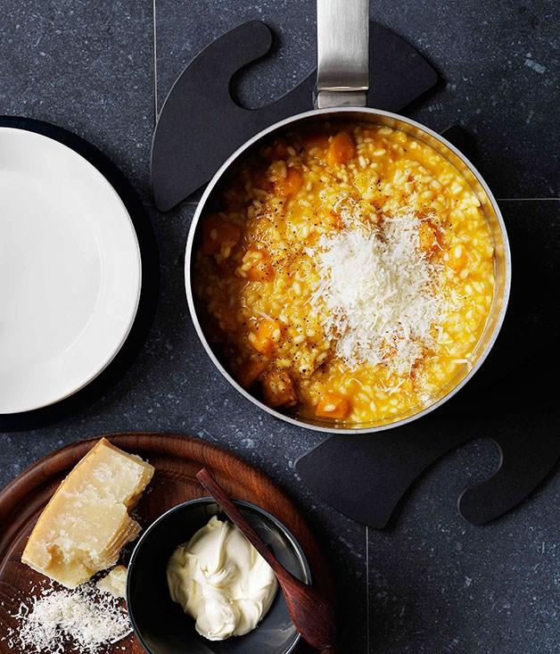 """[**Pumpkin and vermouth risotto with Parmesan and mascarpone**](https://www.gourmettraveller.com.au/recipes/browse-all/pumpkin-and-vermouth-risotto-with-parmesan-and-mascarpone-10429