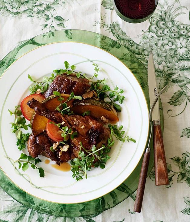 "[**Crisp duck, pumpkin and plum salad**](https://www.gourmettraveller.com.au/recipes/browse-all/crisp-duck-pumpkin-and-plum-salad-10220|target=""_blank"")"