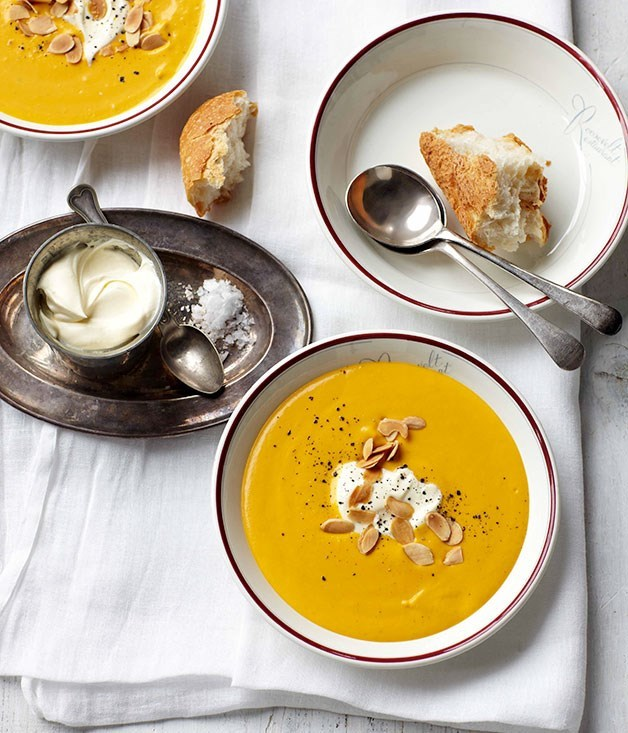 "[**Cream of pumpkin soup**](https://www.gourmettraveller.com.au/recipes/fast-recipes/cream-of-pumpkin-soup-13228|target=""_blank"")"