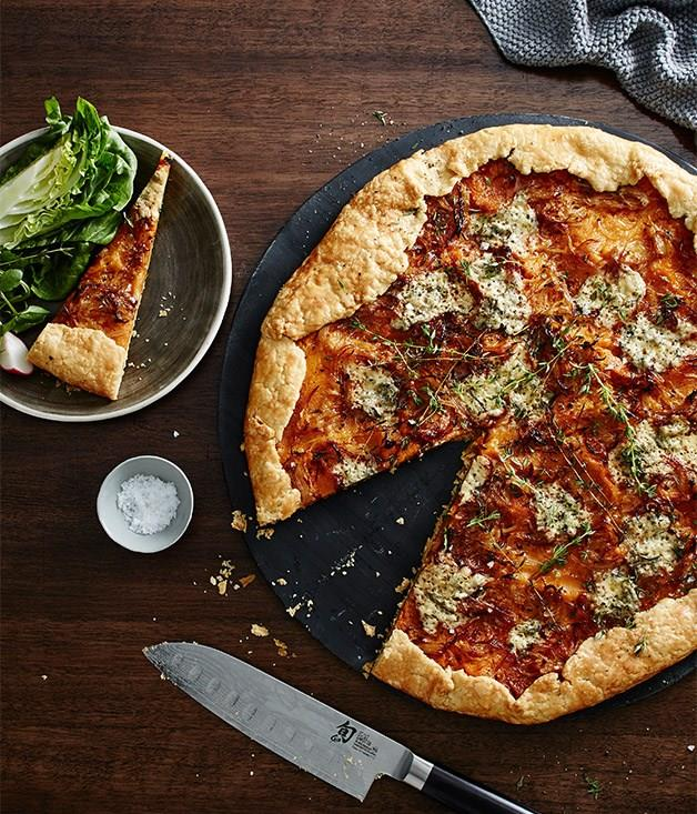 """[**Fred's pumpkin galette with blue cheese and thyme**](https://www.gourmettraveller.com.au/recipes/chefs-recipes/freds-pumpkin-galette-with-blue-cheese-and-thyme-9312