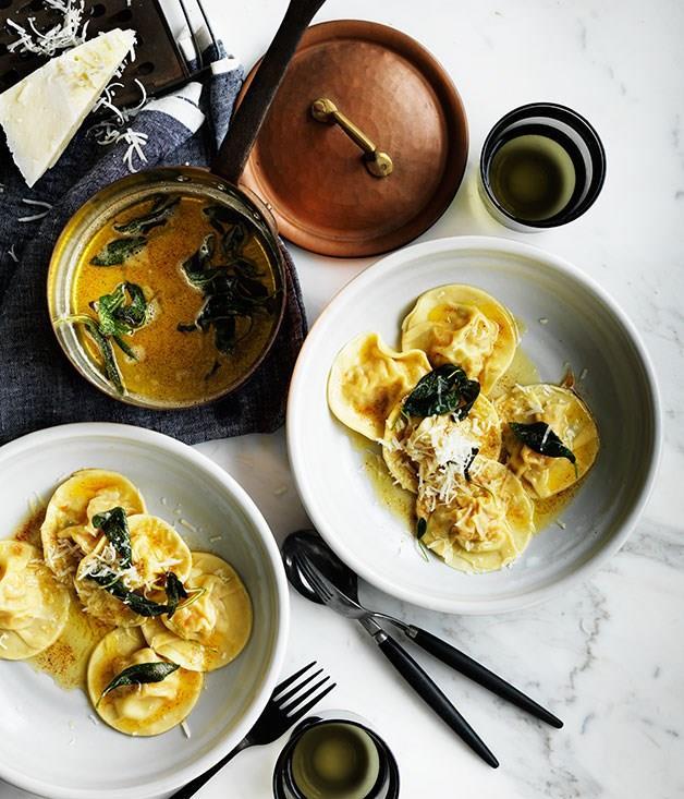 "[**Pumpkin ravioli with sage**](https://www.gourmettraveller.com.au/recipes/browse-all/pumpkin-ravioli-with-sage-12321|target=""_blank"")"