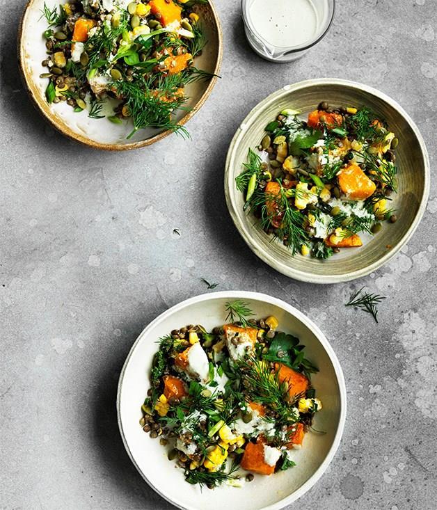 "[**Caramelised pumpkin, corn and lentil bowl**](https://www.gourmettraveller.com.au/recipes/browse-all/caramelised-pumpkin-corn-and-lentil-bowl-12725|target=""_blank"")"