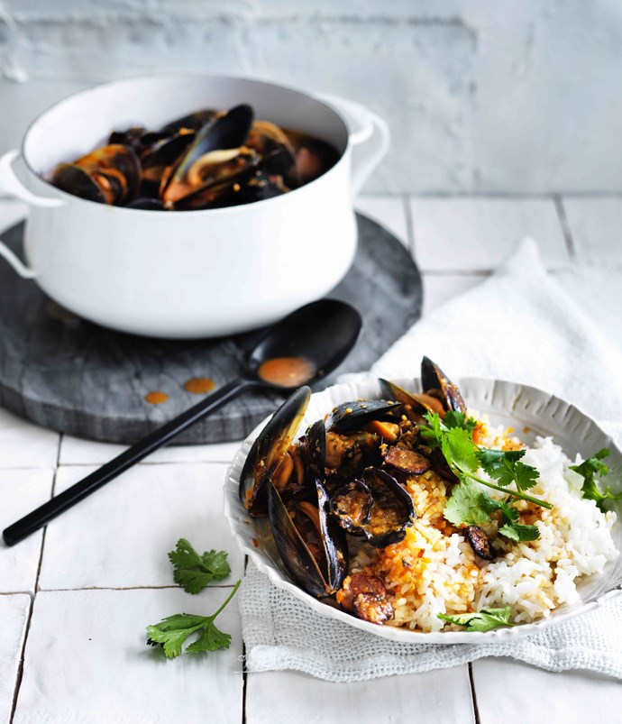 Mussels with lap cheong and wood-ear mushrooms