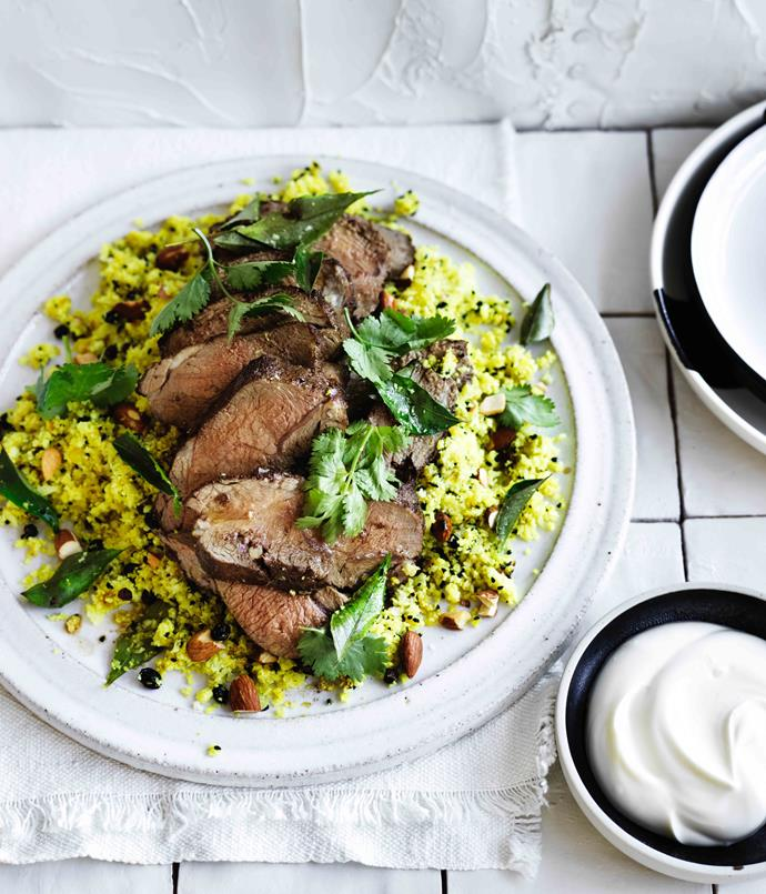 "[**Lamb rump with almond sour currant and cauliflower rice**](http://www.gourmettraveller.com.au/recipes/fast-recipes/lamb-rump-with-almond-sour-currant-and-cauliflower-rice-13846|target=""_blank"")"