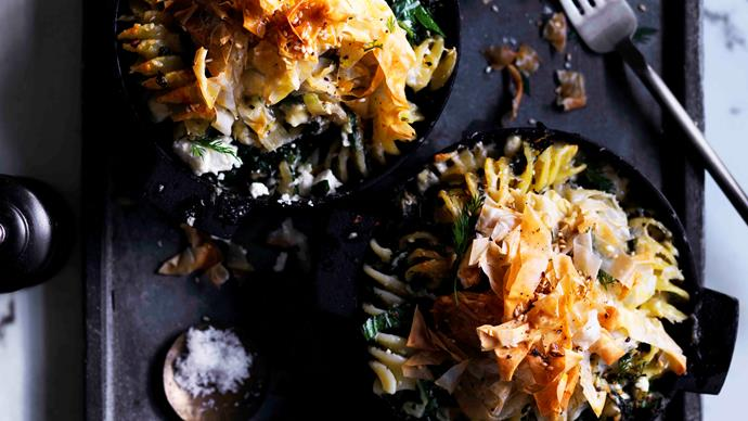 Fusilli with greens, fennel and feta