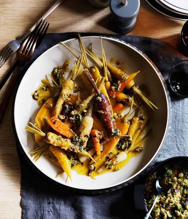 "[**Carrots with garlic, ginger, spring onion and smoked chilli butter**](https://www.gourmettraveller.com.au/recipes/browse-all/carrots-with-garlic-ginger-spring-onion-and-smoked-chilli-butter-12266|target=""_blank"")"