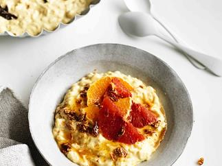 Honey and saffron rice pudding with sesame brittle