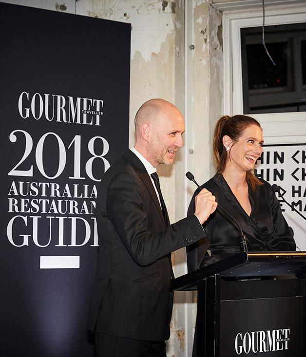 Pat Nourse, *Gourmet Traveller Restaurant Guide* chief critic, and Sarah Oakes, *Gourmet Traveller* editor.