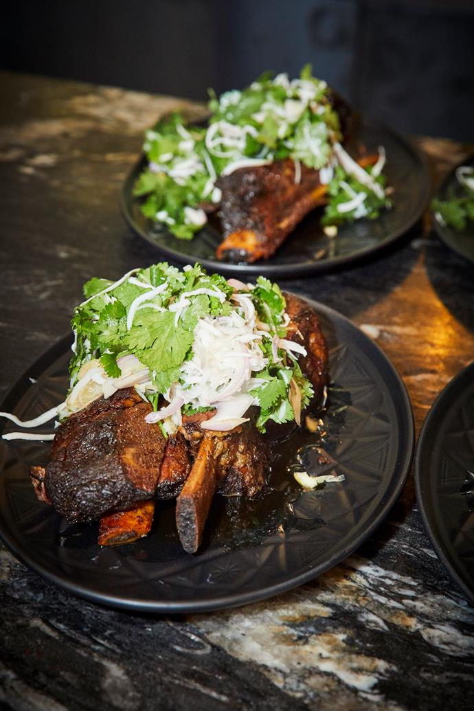 Twice-cooked beef short-rib, coconut salad and prik nahm pla.