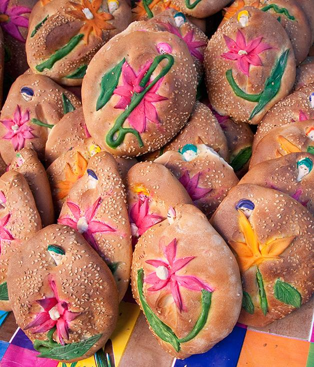 **Oaxaca's market villages** To celebrate Day of the Dead, locals prepare specialty foods, including _pan de muerto_ sweet bread. In Oaxaca the sweet bread is served all year round, however throughout the festival, decorative toppings are added to celebrate lost loved ones.