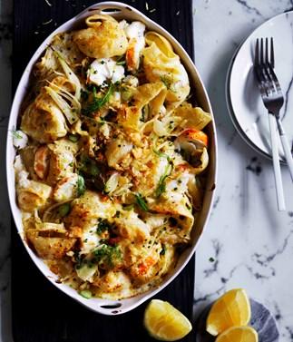 Lobster pasta with lemon crumbs
