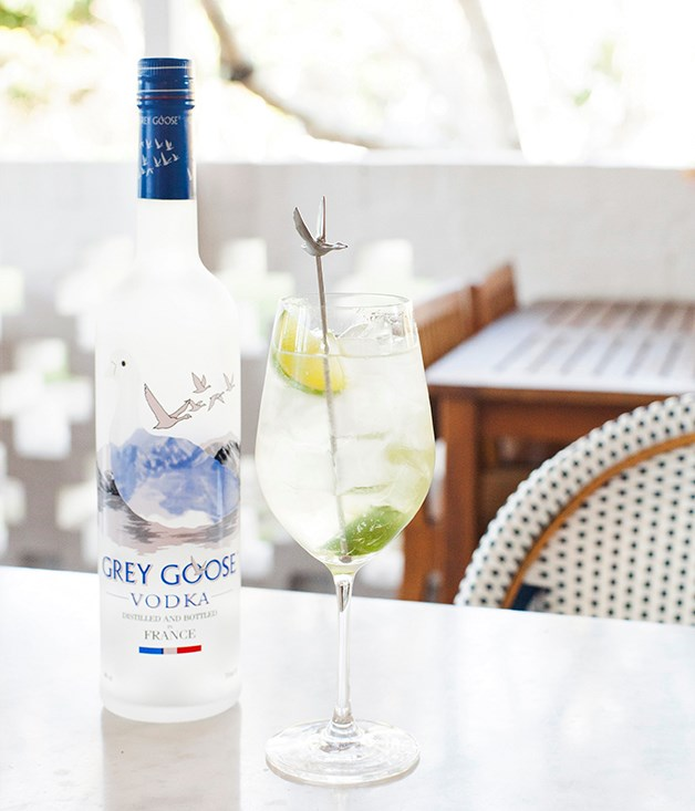 **Le Grand Fizz** Grey Goose, St-Germain elderflower liqueur, wedges of fresh lime and soda.
