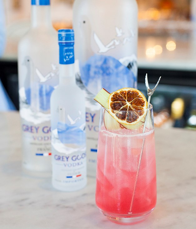 **Rhubarb and pear highball** Grey Goose La Poire, lemon juice, rhubarb cordial and soda.