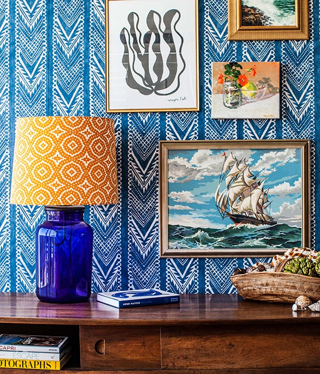 **Artworks in a Halcyon House Master Room** Anna Spiro designed the interiors of the luxe boutique hotel at Cabarita Beach, mixing French Riviera style with vintage and antiques.