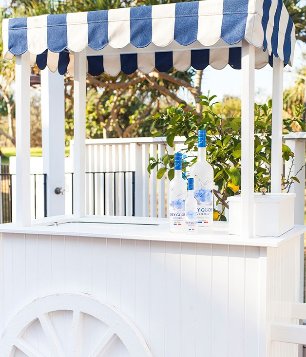 **Grey Goose cocktail cart** Halcyon House and Grey Goose are both big fans of the blue-and-white look.