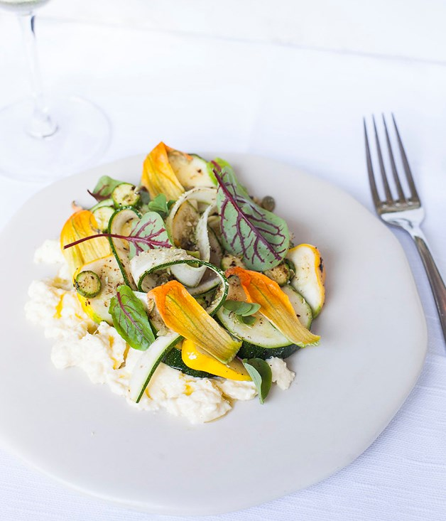 **Mozzarella with zucchini and pumpkin seeds** Light dishes such as this fresh mozzarella with zucchini are perfectly suited to Le Grand Fizz, Wren's delicate spring take on a Spritz.