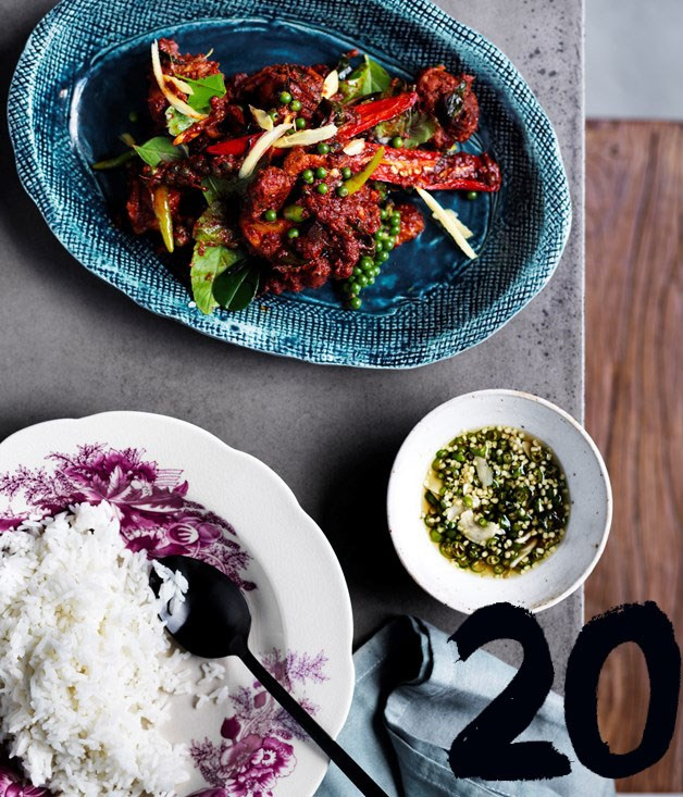 "[**David Thompson's chicken with red curry and holy basil**](https://www.gourmettraveller.com.au/recipes/chefs-recipes/david-thompsons-chicken-stir-fried-with-red-curry-green-peppercorns-and-holy-basil-8479|target=""_blank"") <br><br> ""Chop the bird into pieces - on the bone is even better,"" says Long Chim and Nahm chef David Thompson. ""Legs and wings are the best cuts to use. Fry and brown the chicken well before adding the paste - it will give the dish a more rounded flavour and an attractive colour. The red curry paste is the only curry paste I would cook in a wok. I like to sneak a little pork fat into the mix for a richer curry."""
