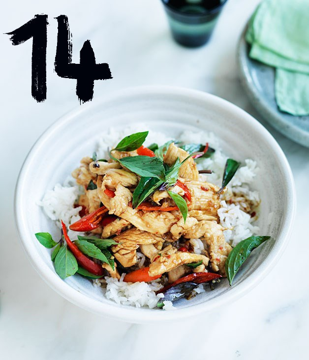 "[**Chicken stir-fried with holy basil and chilli**](https://www.gourmettraveller.com.au/recipes/fast-recipes/chicken-stir-fried-with-holy-basil-and-chilli-13750|target=""_blank"") <br><br> This quick and easy Thai stir-fry packs a spicy punch. Use fresh chilli - it will make all the difference."