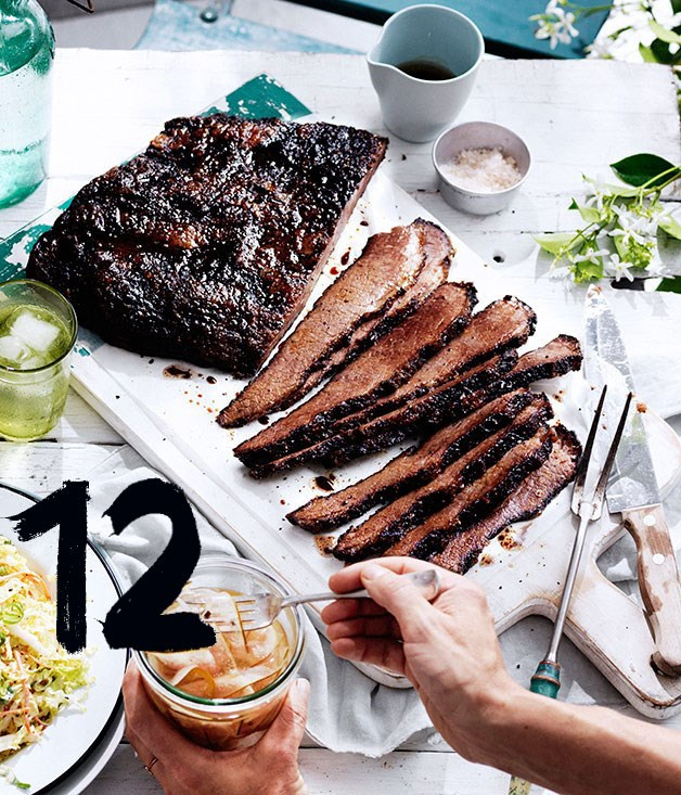 "[**12-hour barbecue beef brisket**](https://www.gourmettraveller.com.au/recipes/chefs-recipes/12-hour-barbecue-beef-brisket-8388|target=""_blank"") <br><br> ""Texas is world-renowned for barbecuing a mean brisket, the flat and fatty slab of meat, cut from the cow's lower chest,"" says Stone. ""Cooking a simply seasoned brisket low and slow on a smoker (or kettle barbecue when barbecuing at home), gradually rendering the gummy white fat while simultaneously infusing smoky flavour into the meat, is a labour of love. Although time-consuming, briskets are not difficult to cook. And while you'll note that this one takes a whopping 12 hours to cook, don't be alarmed if your brisket needs another hour or so - this timing is an approximation, and greatly depends on the size of your brisket and heat of your barbecue."" The brisket can also be cooked in an oven (see note)."