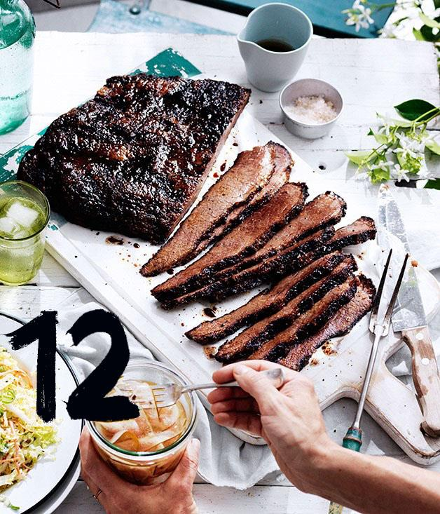 """[**12-hour barbecue beef brisket**](https://www.gourmettraveller.com.au/recipes/chefs-recipes/12-hour-barbecue-beef-brisket-8388