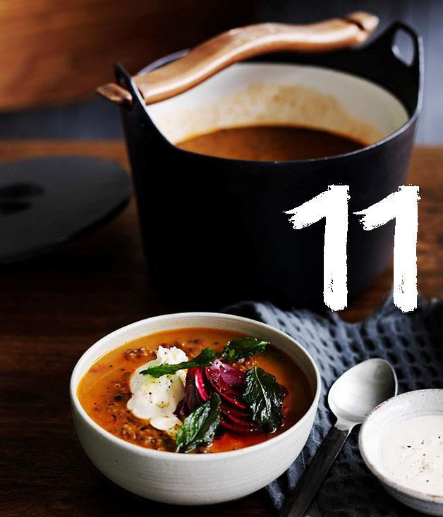 """[**Persian red lentil soup with tahini, beetroot and fried mint**](https://www.gourmettraveller.com.au/recipes/browse-all/persian-red-lentil-soup-with-tahini-beetroot-and-fried-mint-12513