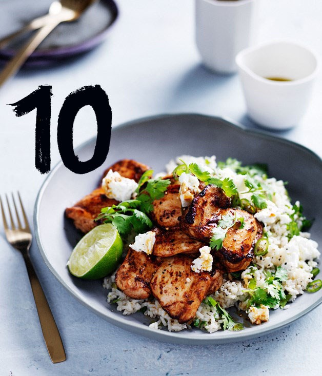 "[**Chipotle-spiced chicken with Mexican green rice**](https://www.gourmettraveller.com.au/recipes/fast-recipes/chipotle-spiced-chicken-with-mexican-green-rice-13721|target=""_blank"") <br><br> A fast and Mexican-inspired recipe, ideal for a midweek dinner or spicy fiesta."