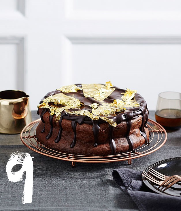 "[**Rich chocolate mousse cake**](https://www.gourmettraveller.com.au/recipes/browse-all/rich-chocolate-mousse-cake-14003|target=""_blank"") <br><br> Topped with shimmering gold leaf, this rich chocolate mousse cake takes dessert to a whole new level."