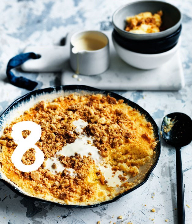 "[**Lemon curd crumble**](https://www.gourmettraveller.com.au/recipes/browse-all/lemon-curd-crumble-12525|target=""_blank"") <br><br> A curd, cake and crumble all in one - with a lemon curd on the bottom and a thin, spongy layer of cake on top. A sprinkling of citrusy crumble over the cake provides a little crunch."