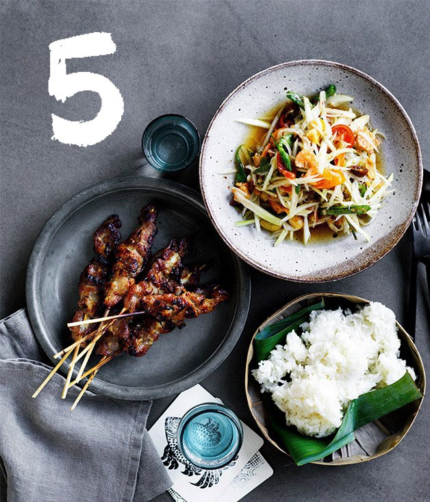 "[**David Thompson's grilled pork skewers**](https://www.gourmettraveller.com.au/recipes/chefs-recipes/david-thompsons-grilled-pork-skewers-8471|target=""_blank"") <br><br> A street food favourite, these grilled pork skewers by chef David Thompson pack a huge amount of flavour. Make them the star of your next barbecue."