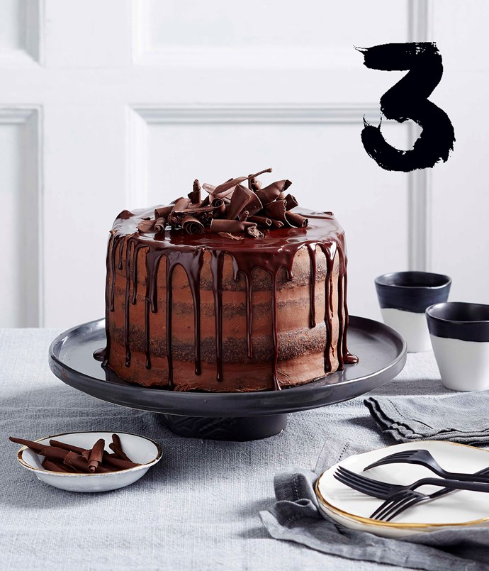 "[**Chocolate truffle layer cake**](https://www.gourmettraveller.com.au/recipes/browse-all/chocolate-truffle-layer-cake-14004|target=""_blank"") <br><br> With layers of chocolate truffle mousse and dripping with chocolate glaze, this indulgent dessert is a showstopping masterpiece."