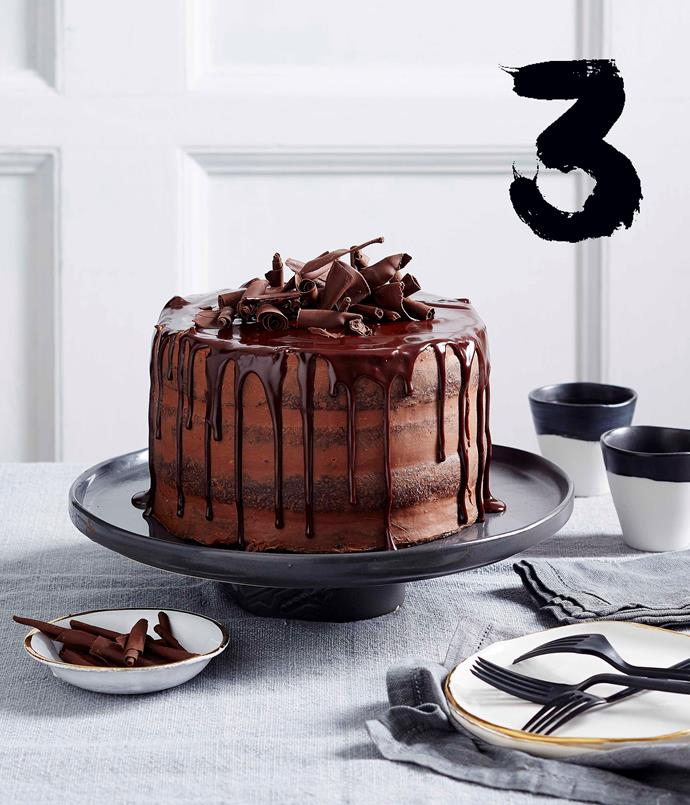 """[**Chocolate truffle layer cake**](https://www.gourmettraveller.com.au/recipes/browse-all/chocolate-truffle-layer-cake-14004