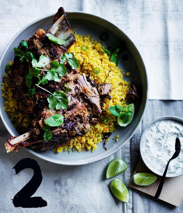 """[**12-hour Indian spiced lamb shoulder with saffron pilaf**](https://www.gourmettraveller.com.au/recipes/browse-all/twelve-hour-indian-spiced-lamb-shoulder-with-saffron-pilaf-12580