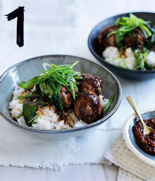 """[**Soy pork and ginger meatballs with hoisin greens and rice**](https://www.gourmettraveller.com.au/recipes/fast-recipes/soy-pork-and-ginger-meatballs-with-hoisin-greens-and-rice-13743
