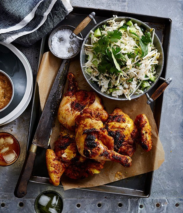 **Malaysian barbecued chicken with kerabu rice salad**