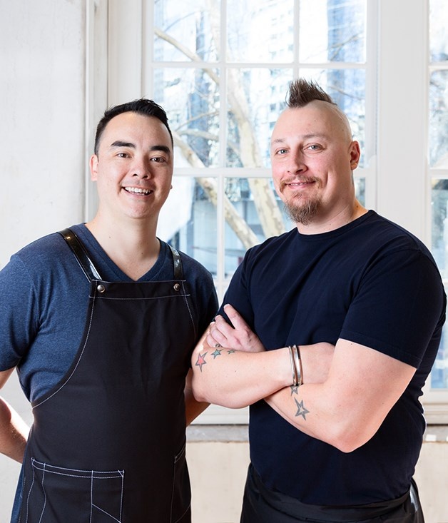 """**Chefs Graeme Hunt and Benjamin Cooper** """"The really exciting part of Chin Chin Sydney was creating a kitchen from the ground up. In Melbourne, the building is beautiful, but it had lots of limitations in terms of space. In Sydney, we didn't have that and so we built a huge charcoal pit in centre of the kitchen. About 30 per cent of the menu is new dishes created around the pits,"""" Lucas says.  _Photo by Steven Woodburn._"""