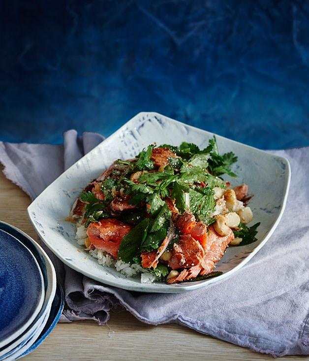 "[**Salmon salad with hot and sour dressing**](https://www.gourmettraveller.com.au/recipes/fast-recipes/salmon-salad-with-hot-and-sour-dressing-13591|target=""_blank"")"