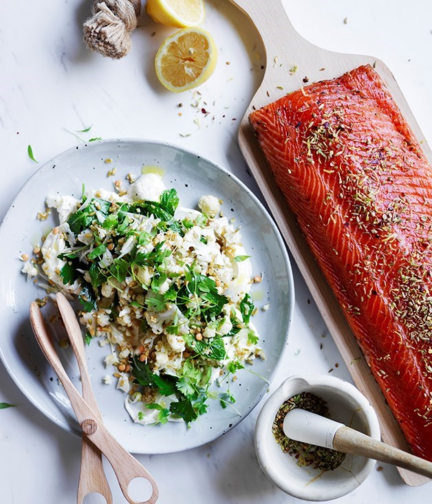 "[**Citrus-cured salmon with lemon labne and cauliflower salad**](https://www.gourmettraveller.com.au/recipes/browse-all/citrus-cured-salmon-with-lemon-labne-and-cauliflower-salad-12707|target=""_blank"")"