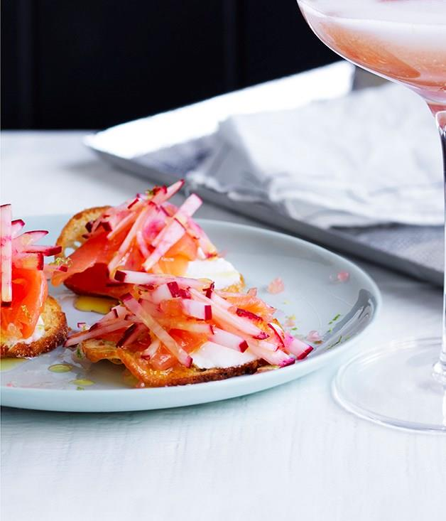 "[**Smoked salmon crostini**](https://www.gourmettraveller.com.au/recipes/browse-all/smoked-salmon-crostini-12655|target=""_blank"")"