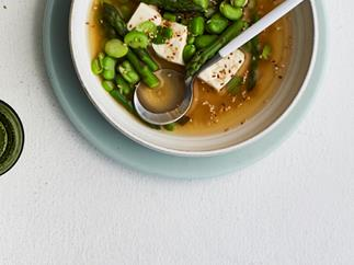 Miso broth with spring vegetables and tofu
