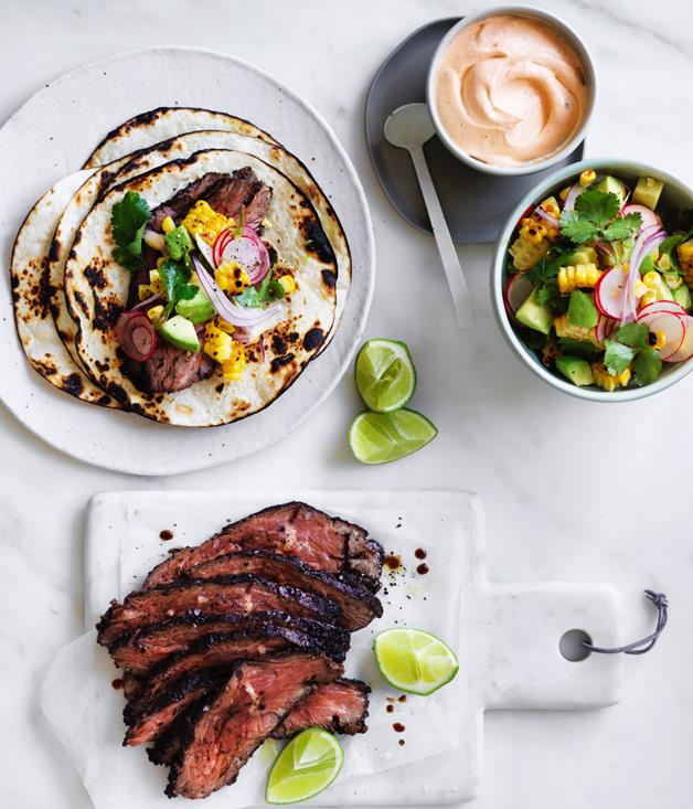 "[**Flank steak tacos with corn, avocado and coriander**](https://www.gourmettraveller.com.au/recipes/fast-recipes/flank-steak-tacos-with-corn-avocado-and-coriander-13851|target=""_blank"")"