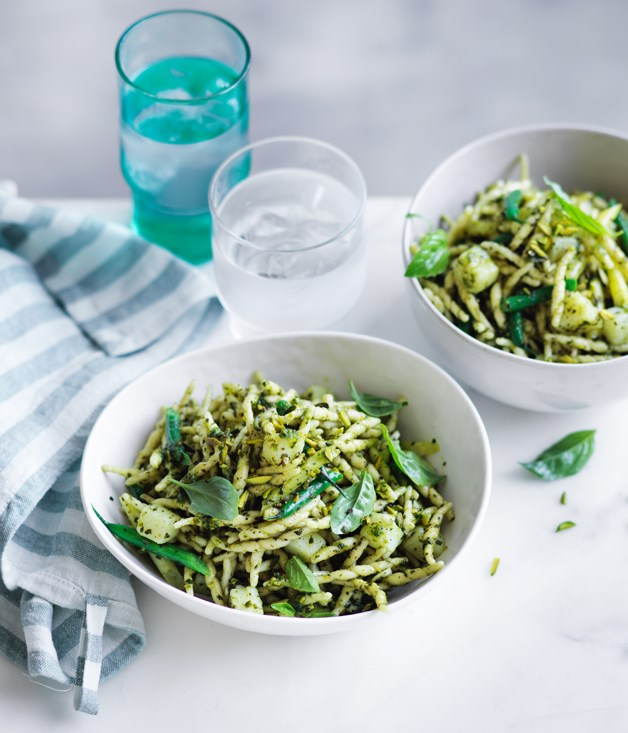 Trofie with potatoes, beans and pistachio pesto