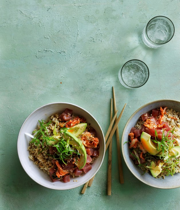 "[**Tuna K-poke**](https://www.gourmettraveller.com.au/recipes/browse-all/tuna-k-poke-12847|target=""_blank"")"