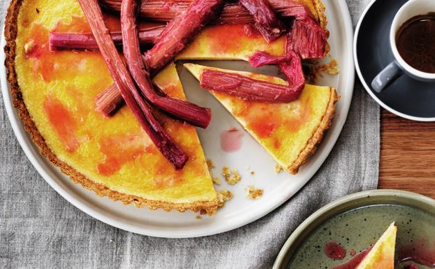 Rhubarb and chamomile tart