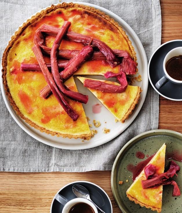 Rhubarb and chamomile tart