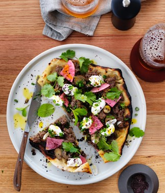 Turkish flatbread with beef and yoghurt