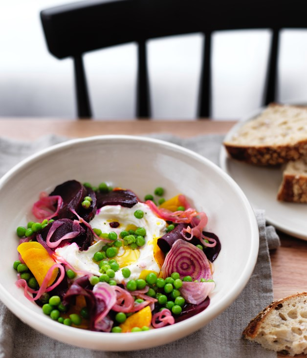 Labne with salt-roasted beetroot, pickled onions and peas