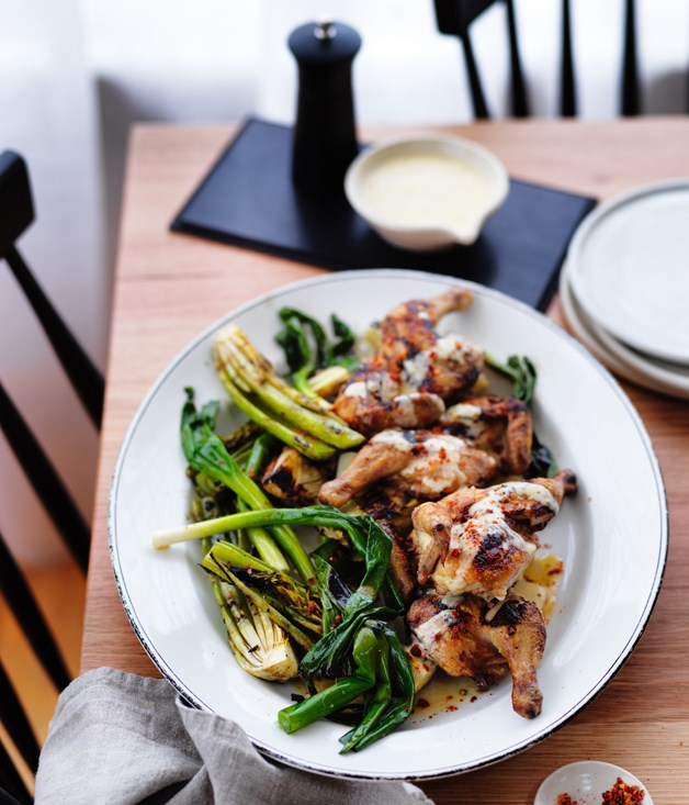 Char-grilled spatchcock, celery heart, fennel and spring onions with lemon sauce