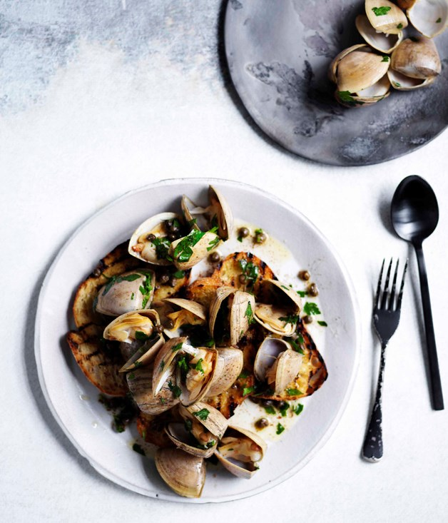Clams in garlic brown butter