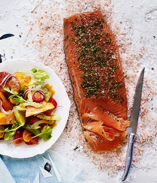 Salmon recipes gravlax, curry, salad, salmon steaks