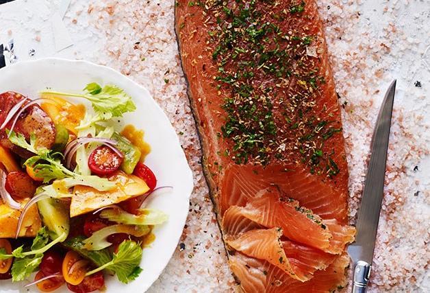 Salmon recipes gravlax, curry, salad, salmon steaks